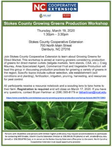Cover photo for Stokes County Growing Greens Production Workshop