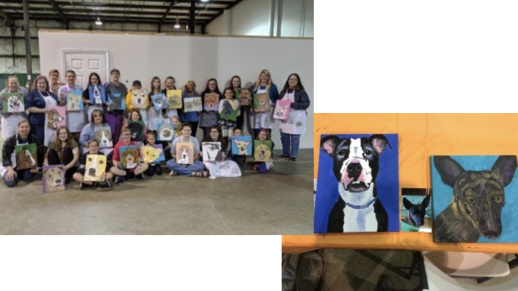 Group with dog paintings