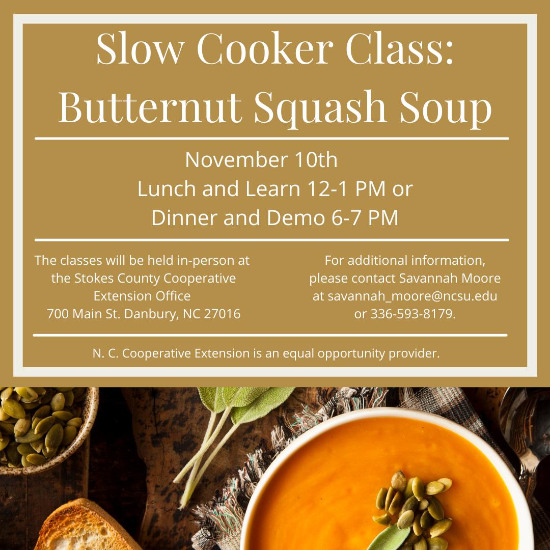 slow cooker butternut squash soup November class